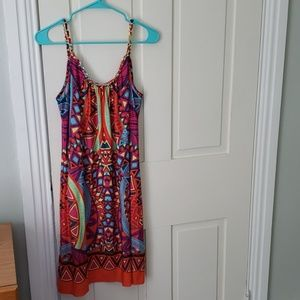 Tropical dress with gold chain detail on straps